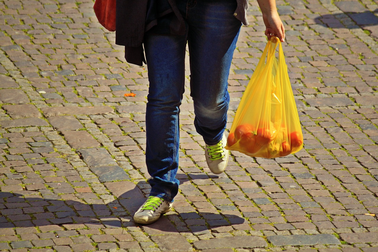 The image shows a woman carrying grocery items in a plastic bag
